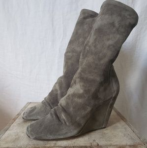HTF Rick Owens moss stretch suede midi wedge boots